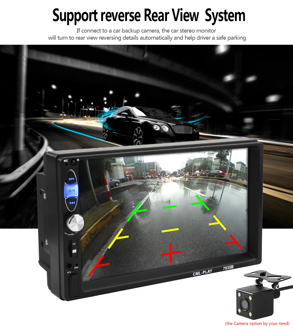 Factory Design Universal 2Din MP5 Player Radio Stereo Bluetooth Handsfree Steering Wheel Control with Reverse Camera Mirror Link (5)