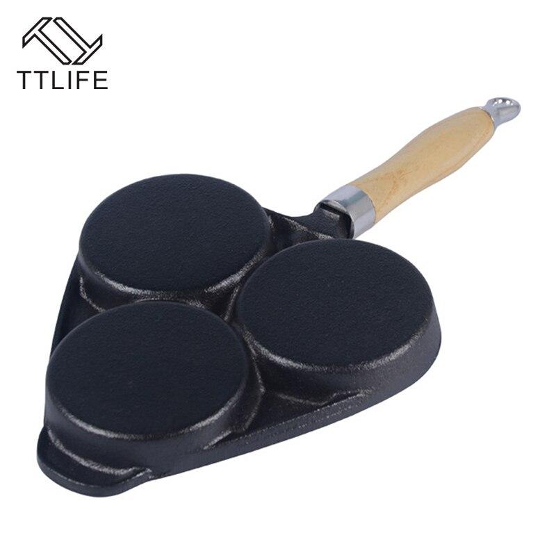 TTLIFE High Quality Cast Iron Egg Steak Hamburg Dumplings Pot Mini Device Frying Pan 3 Holes Omelette Frying Pan Fried