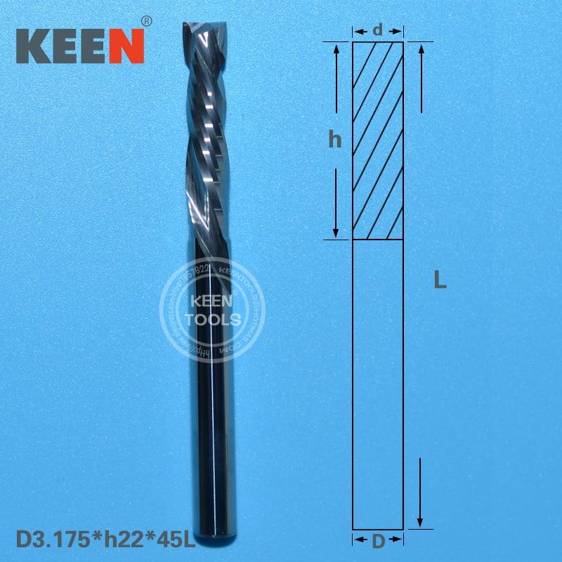 3.175mm 15mm Carbide 2 Flute Spiral Bit End Mill Router CNC Cutting Tool