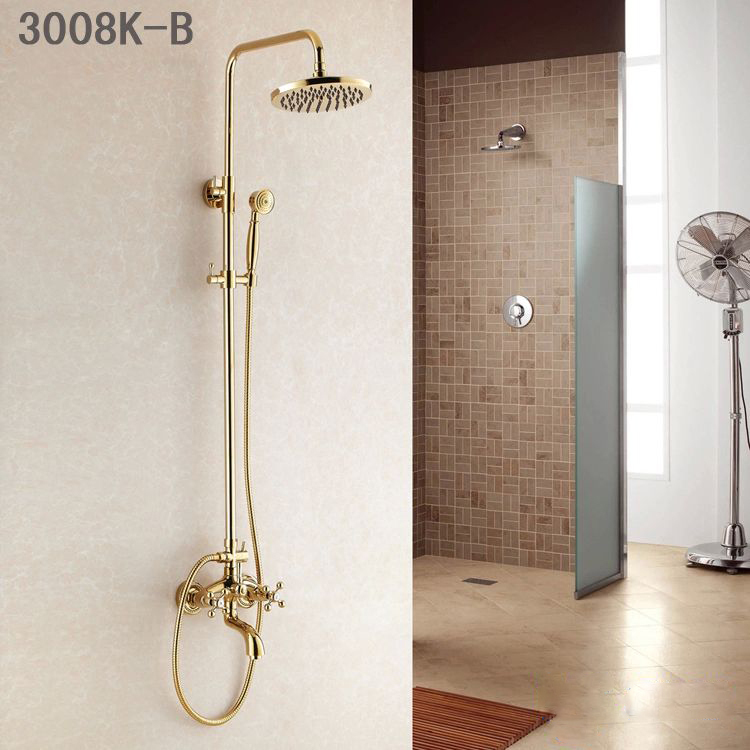 Shower Faucets Wall Mounted Bathroom Taps Top Spray Rainfall Head ...