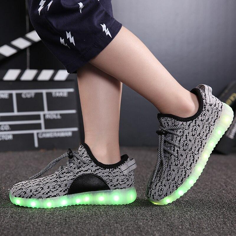 2018 Новый модный тренд мальчиков и девочек флэш-лампа обувь для детей светодиодный легкие кроссовки USB аккумуляторная повседневная спортивн...