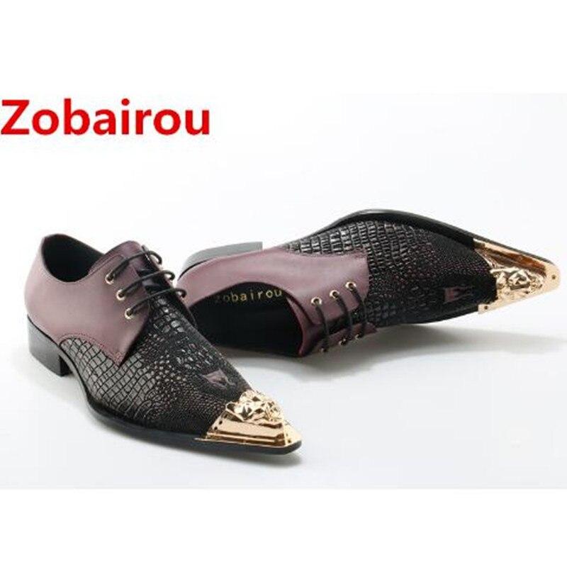 US $170.0  Italienische herren schuhe Zobairou marken gold eisen toe alligator schuhe für männer müßiggänger krokodilleder designer schuhe männer in