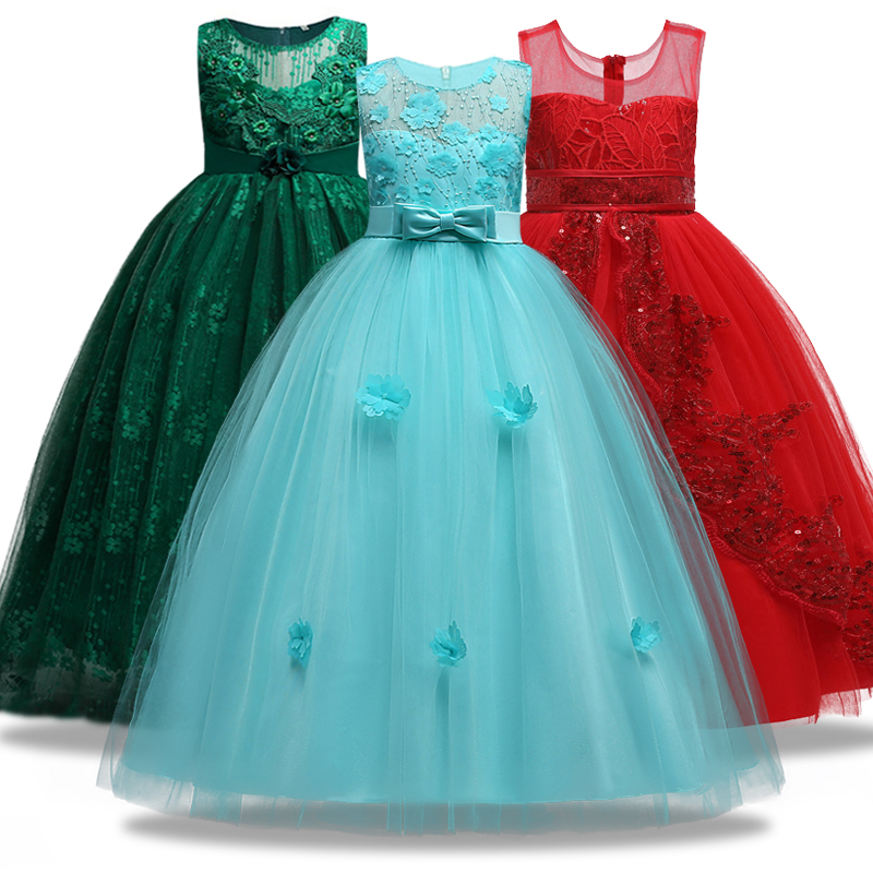 Dress Wedding-Ball Flower-Girl Applique Children's Sleeveless Lace 4--14-Ysar Youth
