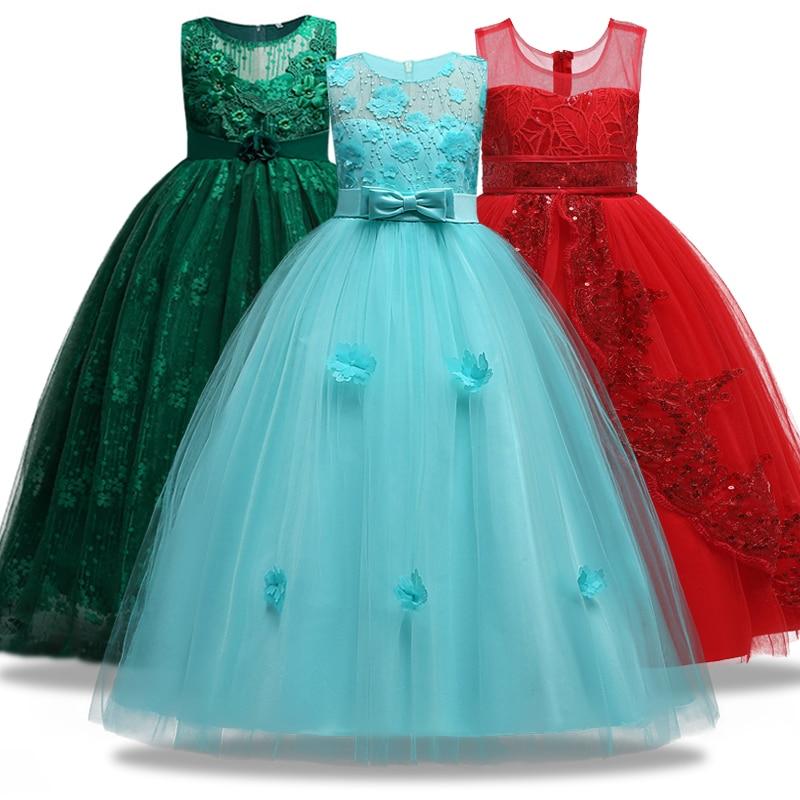 Children's Girl Wedding Flower Girl Wedding Ball Dress Formal Dress Youth Sleeveless Lace Applique Dress 4~14 Ysar