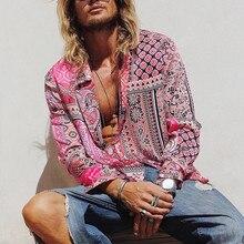 Camisas, мужская рубашка, летняя, модная, повседневная, с отворотом, с принтом, с длинным рукавом, рубашка, сексуальная, уличная, топы, блузка, Мужская гавайская рубашка, сорочка