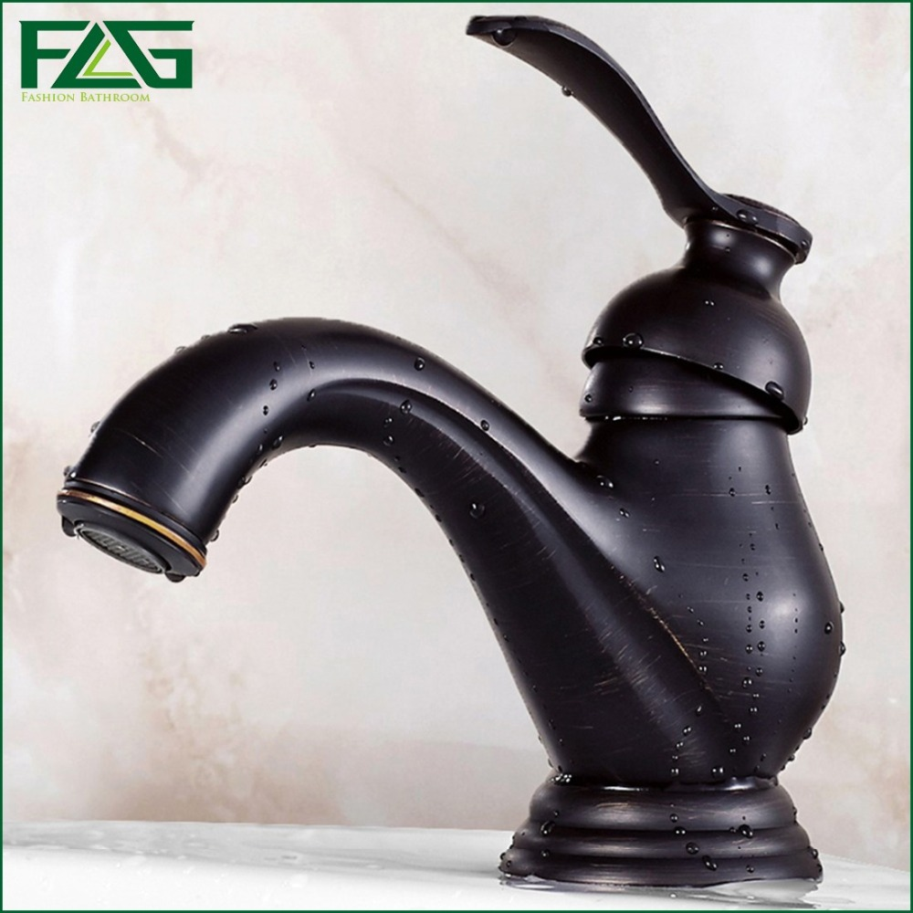 ФОТО FLG Brand New Retro Bath Mat Deck Mounted Single Lever Oil Rubbed Bronze Sink Faucet Separator Washroom Tap Pia Basin Mixer M026