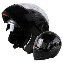 Black Motocross Helmet Modular Flip Up Full Face Dual Visor Motorcycle Helmet S M L XL