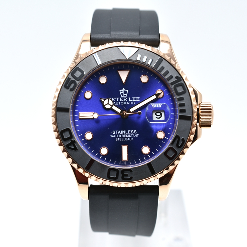 PETER LEE Mens Watch Top Brand Luxury Dial 42 mm Ceramic Rotatig Bezel Business Clock Waterproof Silicone Automatic Mechanical