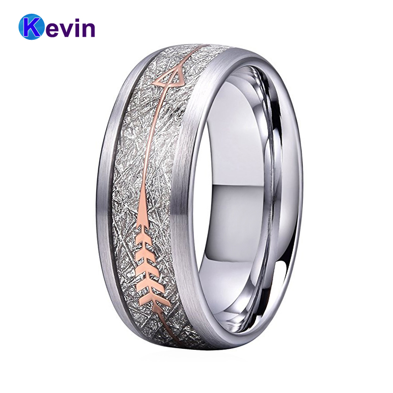 Silver Wedding Bands Silver Ring Tungsten Carbide Ring With Rose Gold Steel Arrow And White Meteorite Inlay New Arrivals black tungsten carbide with dark wood inlay mens wedding ring