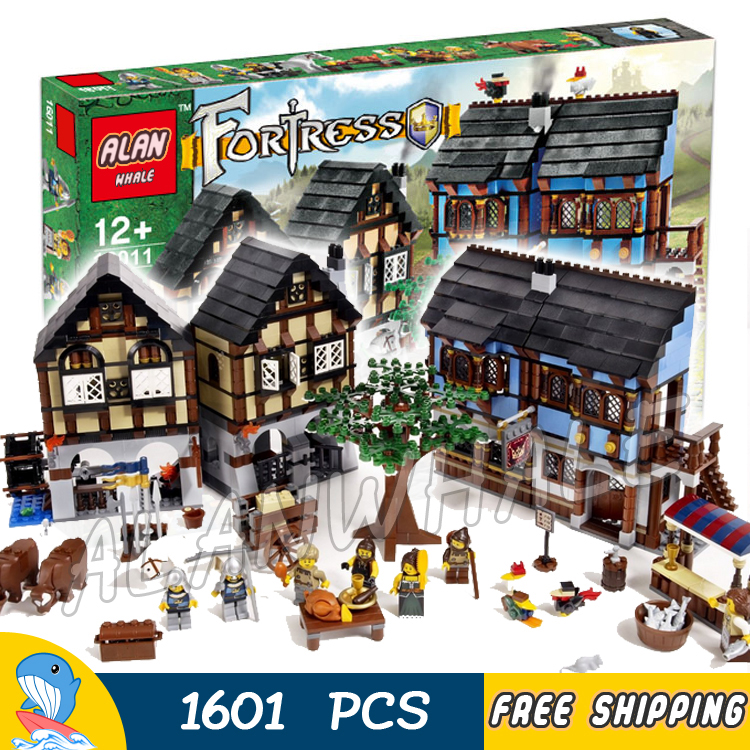 1601pcs Castle Series Medieval Market Village 16011 DIY Model Building Blocks Assemble Children Toys brick Compatible with Lego