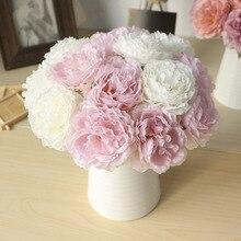 5 heads/ bouquet Peony Artificial flowers Home Decor Silk Fake Flower Peonies artificial flowers for Wedding DIY decoration