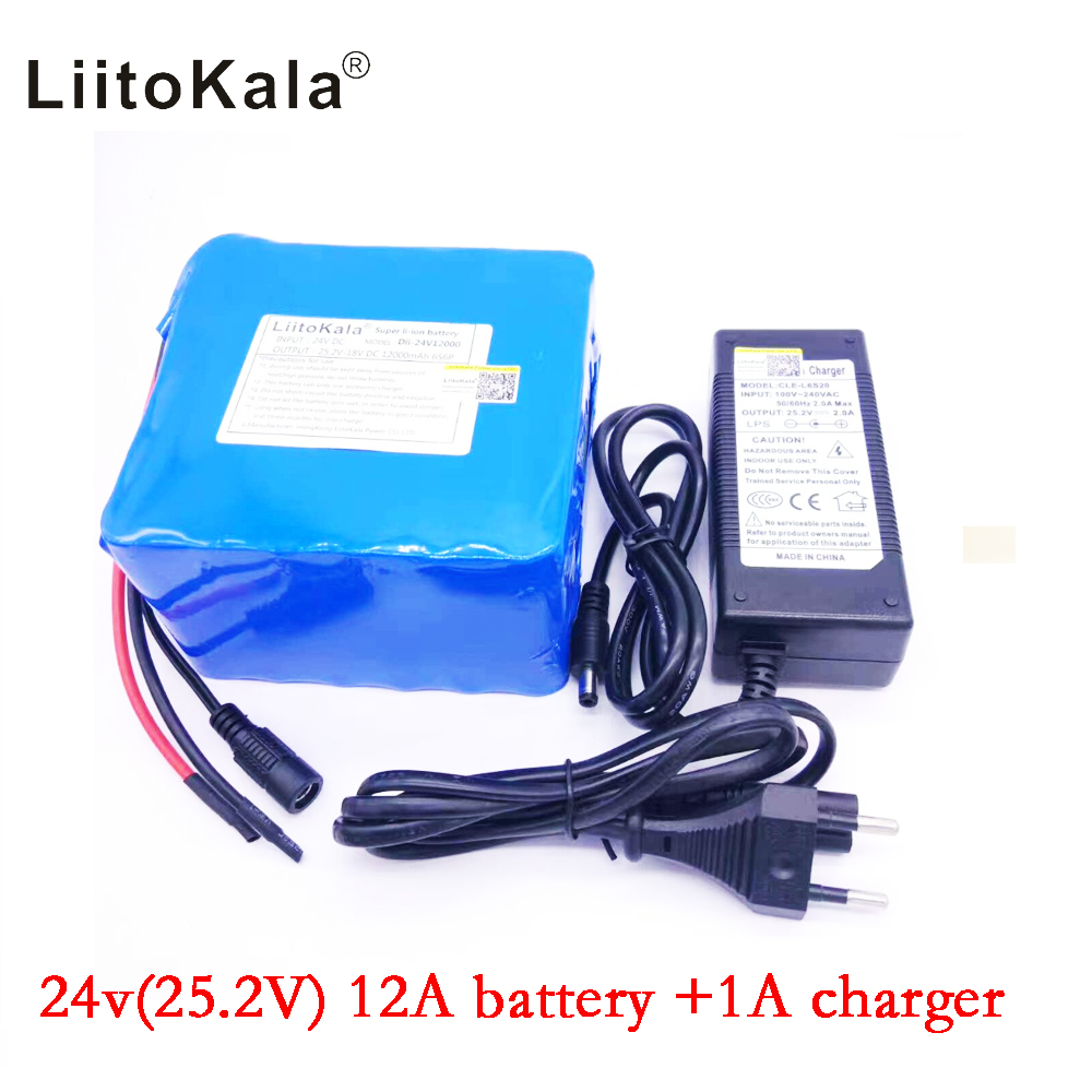Liitokala 6s6p 24v 12Ah battery 18650 25.2v in lithium- ion battery portable backup power pcb + 24v  (25.2v) 1a battery charger. 30a 3s polymer lithium battery cell charger protection board pcb 18650 li ion lithium battery charging module 12 8 16v