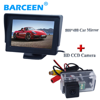 Black plastic shell material car rearvi monitor lcd screen+ car rear reversing camera for Peugeot 206/ 207/407/307(Sedan)/307SM