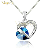 Fashion Style 18k White Gold Plated Blue Austrian Crystal Romantic Heart Necklace Jewelry Valentine Day Gift