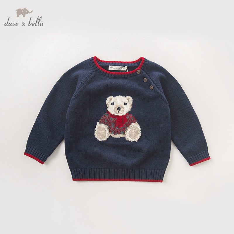 DB5905 dave bella autumn infant baby boys navy bear pullover sweater kids lovely clothes toddler children