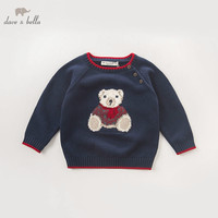 DB5905 dave bella autumn infant baby boys navy bear pullover sweater kids lovely clothes toddler children knitted Sweater