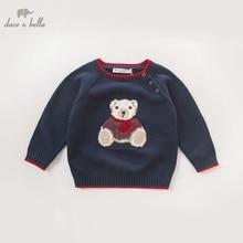DB5905 dave bella otoño bebé niños azul marino jersey con gráfico de oso suéter niños ropa encantadora niño niños suéter de punto