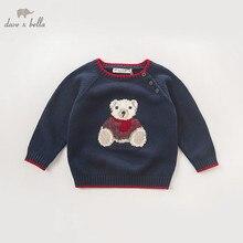 DB5905 dave bella осенний пуловер для маленьких мальчиков, свитер с морским медведем, Детская Милая одежда, вязаный свитер для малышей