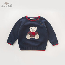 DB5905 デイブベラ秋の幼児の赤ちゃん海軍クマのプルオーバーのセーターの子供素敵な服幼児子供ニットセーター