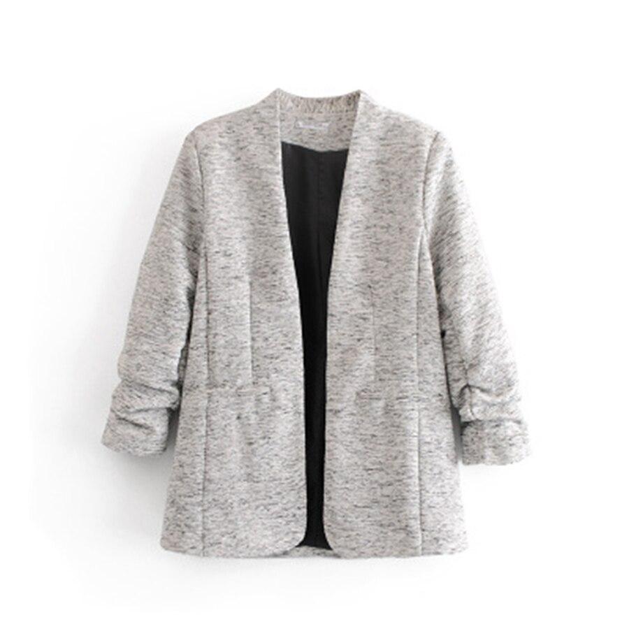 Gray Tweed Casual Cotton Long Blazer women Suit Korean Style Fashion Winter Clothes Women Lingerie Veste Tailleur Femme Ladies