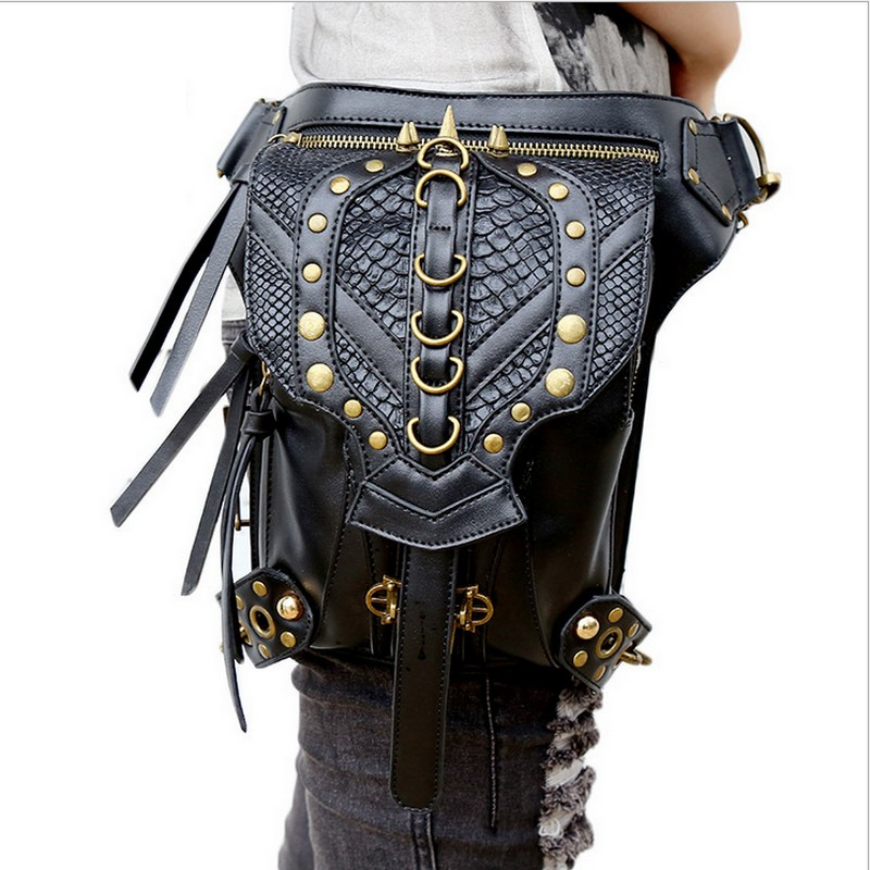 carteras mujer Steam punk bag thigh Motor leg Outlaw Pack Holster Protected Purse Shoulder Backpack Purse PU leather men pack adjustable quick release plastic tactical puttee thigh leg pistol holster pouch for usp45 black