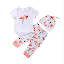 @Fashion Flamingos Outfits Newborn Baby Girls Romper Bodysuit Pants Hat Clothes