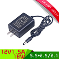 High Quality Black 5.5*2.5mm Jack US Plug AC 100-240V Adapter DC 12V 1.5A 18W Power Supply