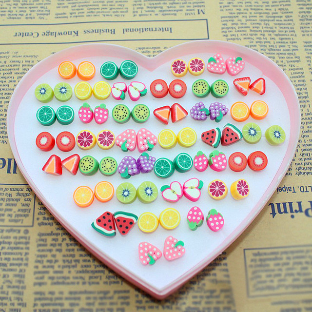 wholesale 36 pairs sweet candy color fruit stud earrings women girls novelty item animal cat earing - Buy Candy By Color