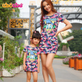 Fashion mom and kids couple look dress family matching outfit clothes cartoon dress mother daughter match dress clothing