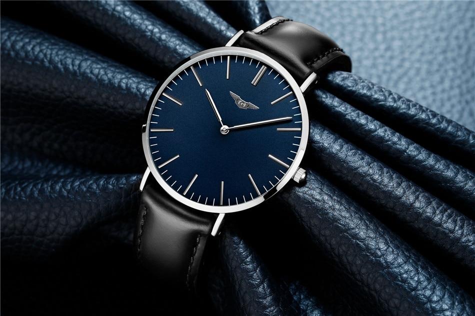ultra fino relógio de quartzo simples à