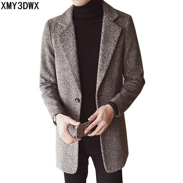 2017 Осень-зима для отдыха мужская Куртка Blend Шерстяное пальто мужские брендовые Толстые средней длины ветровка верхняя одежда Тренч Плюс Размеры M-3XL