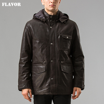 Men real leather jacket Pigskin Hooded leather coat Genuine Leather jacket men's winter warm overcoat male Leather