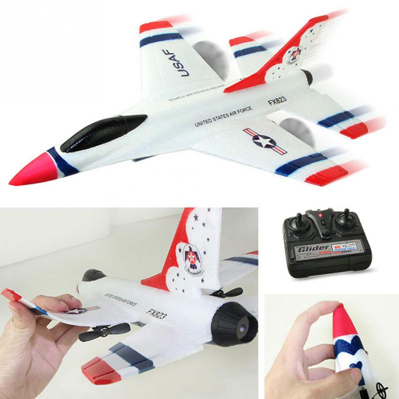 2018 New Original Wltoys FX-823 2.4G 2CH F16 Thunderbirds EPP Remote Control RC Glider Airplane with High Quality K3