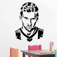 Football Player Messi Silhouette Wall Decal Home Decoration For Boys Room Vinyl Adhesive Soccer Face Art