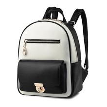 Студентки рюкзак черный белый ранцы новый искусственная кожа мешок плеча способа вскользь Корейских женщин высокого качества сумка