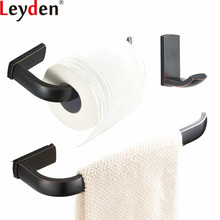 Leyden ORB Brass 3pcs Bathroom Accessories Set Wall Mounted Black Towel Ring Holder Toilet Paper Tissue Robe Hook