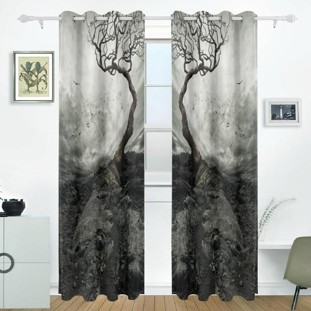Tree Curtains Drapes Panels Darkening Blackout Grommet Room Divider For Patio  Window Sliding Glass Door 55x84