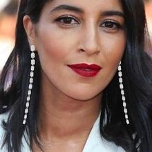 GODKI 105mm Luxury Trendy Long Tassel Drop Dangle Earrings for Women Zircon CZ Crystal Earring Statement Jewelry Oorbellen 2019