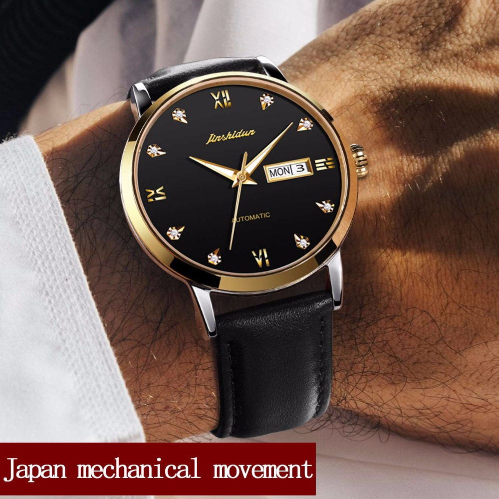 JSDUN Luxury Brand Men's Mechanical Watch Water Resistant Black Leather Business Automatic Watches Calendar Men's Wrist Watch ultra luxury 2 3 5 modes german motor watch winder white color wooden black pu leater inside automatic watch winder
