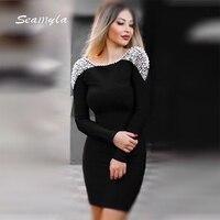 Seamyla שמלת מסיבת סלבריטאי אופנה חדש לנשים שרוול ארוך פרל ואגלי Vestido סקסי ללא משענת Clubwear Bodycon תחבושת שמלות