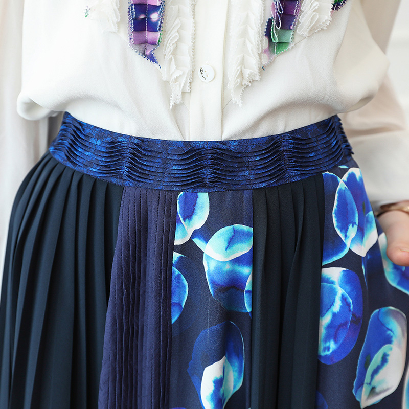 Voa De Verano Tamaño Una C357 Mujeres Azul Plus Casual Básico Color Moda Faldas Boho Las Falda Pesado Línea 5xl Playa Seda Larga apqx5aFwr