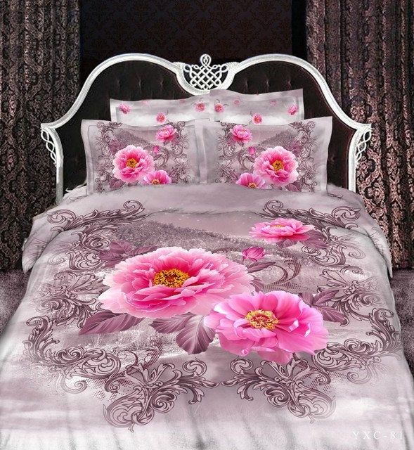 Exceptional Sexy Pink Rose Gray Girls 3d Queen Vintage Bed Linens Bedroom Bedding Sets  Comforter Set Quilt