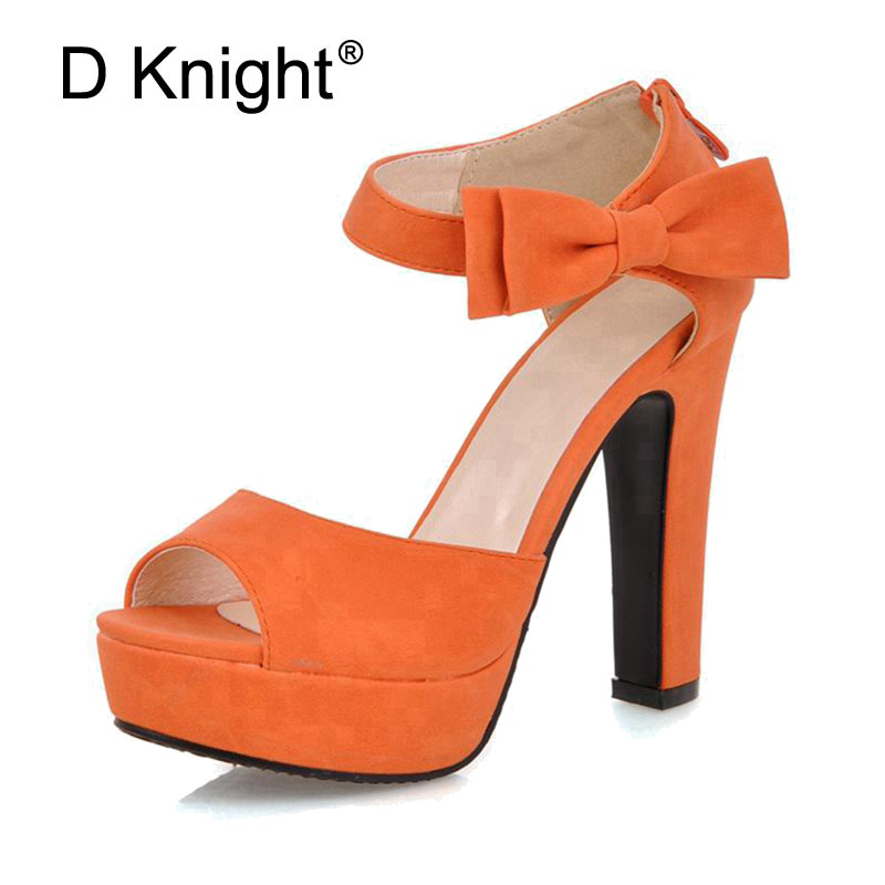 Size 31-43  Women Summer Peep Toe Pumps Ankle Strap Orange Sweet High Heel Sandals Lady Bowtie Platform Shoes Woman Spike Heels xiaying smile summer new woman sandals platform women pumps buckle strap high square heel fashion casual flock lady women shoes