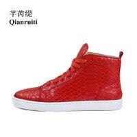 Qianruiti мужские кроссовки из кожи аллигатора с высоким верхом сандалии на веревочной подошве-платформе на плоской подошве на шнуровке ботиль...