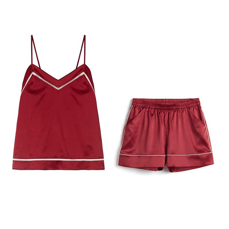 High Grade Women Sexy Home Clothing Shorts   Set   V-Neck Sleepwear Satin   Pajama   Female   Pajamas   Spaghetti Strap Luxury   Pajama     Set