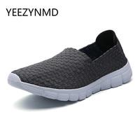 2017 Light Comfortable Men Casual Shoes Woven Handmade Men Shoes Breathable Male Fashion Slip On Black