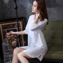 Summer female loose shirt nightgown sexy cotton silk sleepwear thin white shirt short-sleeve cotton female 100% lounge