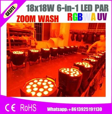new 18x18 w rgbwa uv 6in1 led zoom par luz dmx 7 11 canais taiwan