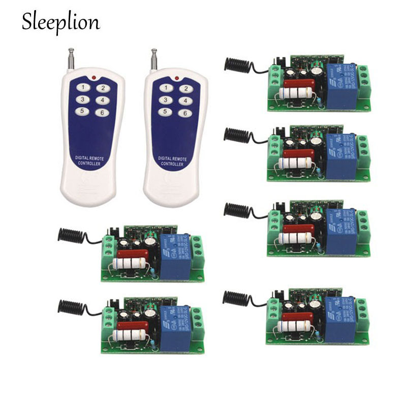 Sleeplion AC 110V 10A Relay ON OFF 1CH wireless 6 key Remote Switch Transmitter 6 font