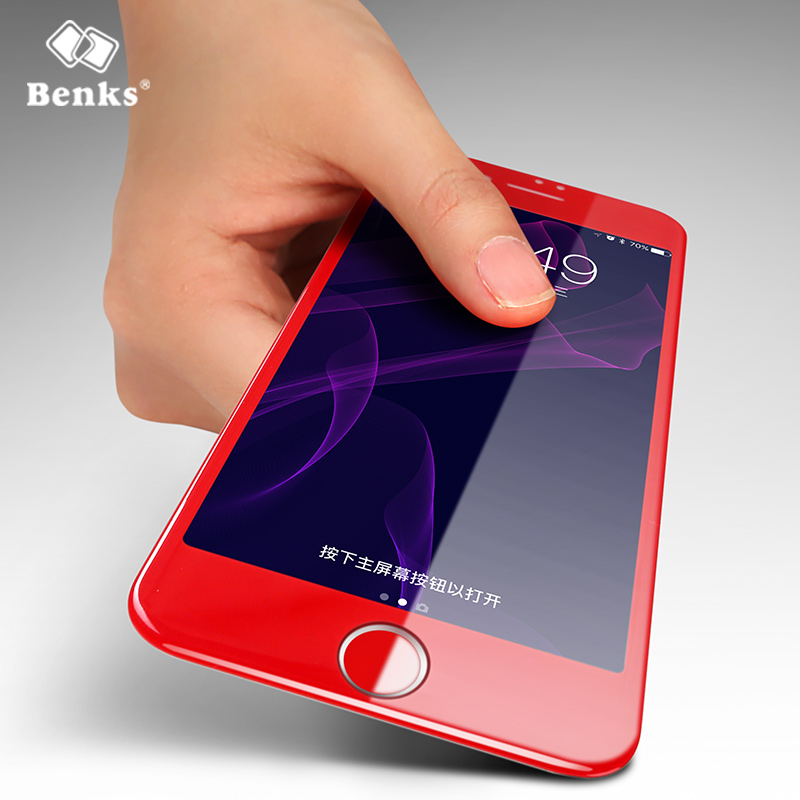 For iPhone 7 and iPhone 7 Plus Screen Protector <font><b>Benks</b></font> 3D <font><b>Curved</b></font> Edge <font><b>Tempered</b></font> <font><b>Glass</b></font> <font><b>Protective</b></font> <font><b>Film</b></font> 3D KR+PRO Series Lucky Red